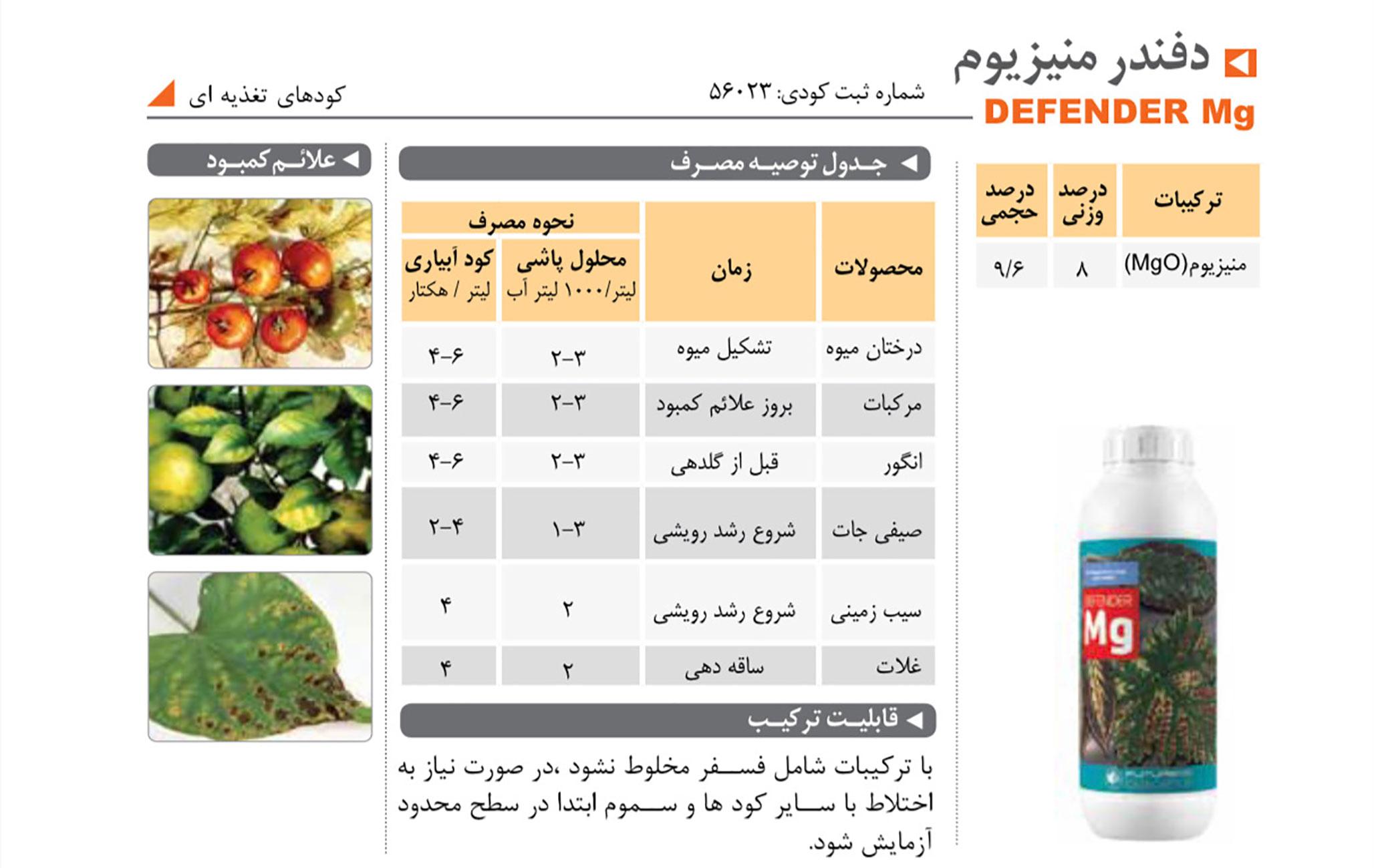 تامین کننده منیزیم در گیاه DEFENDER Mg فیوچر