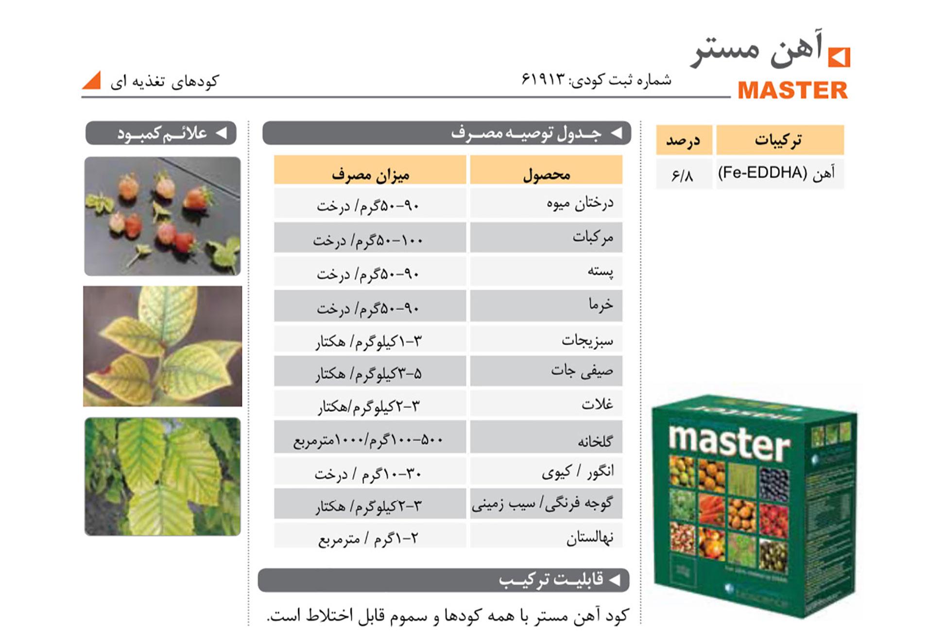 تامین کننده آهن در گیاه MASTER فیوچر